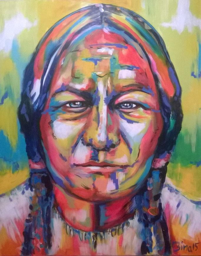 Sitting Bull  100x80 cm Acryl auf Leinwand