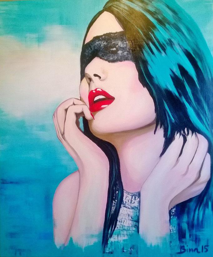 Frau mit der Maske 120x100 cm Acryl auf Leinwand...