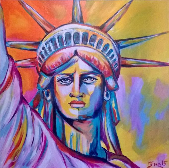 Lady Liberty  100x100x3 cm Acryl auf Leinwand