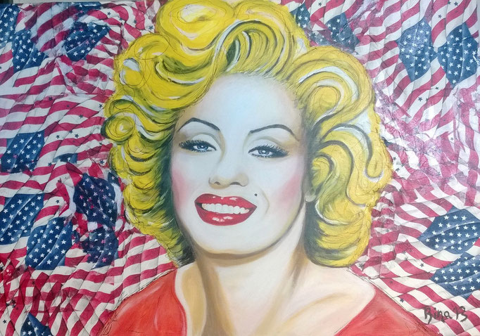 Mary in the States  100x70x3 cm Acryl/Mischtechnik auf Leinwand...