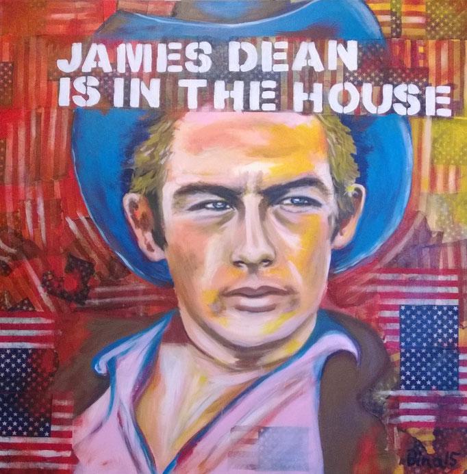 James Dean  100x100x3 cm  Acryl/Mischtechnik auf Leinwand