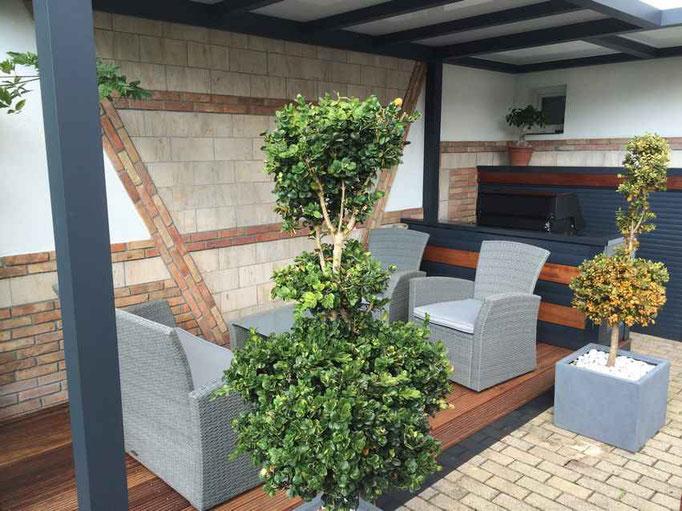 pergola fixe avec terrasse bois