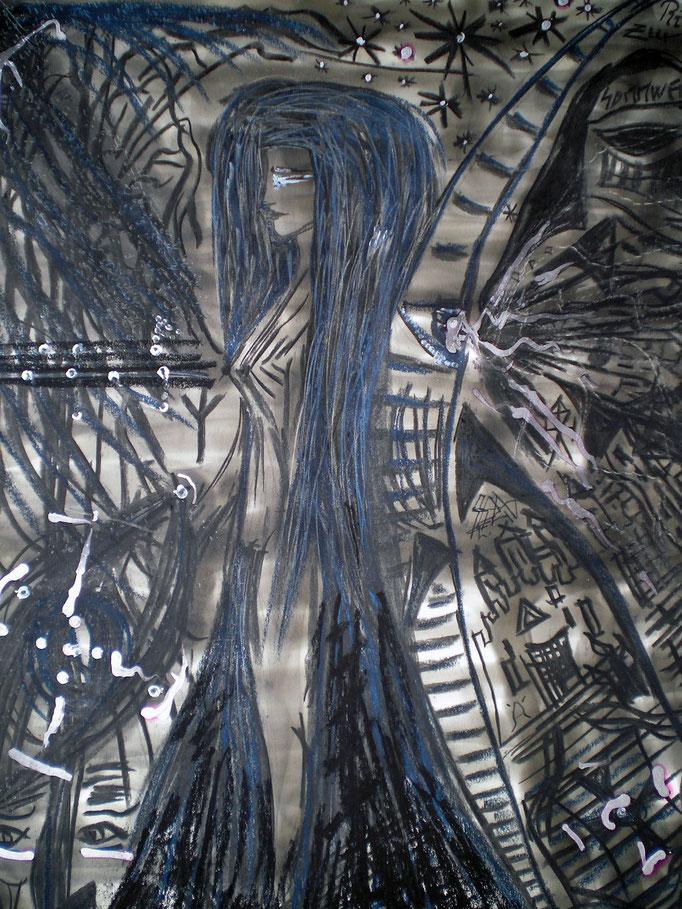 Ritual zur Sonnenwende - 56 x 42 cm - 1993 - Mischtechnik - Malerei auf Papier