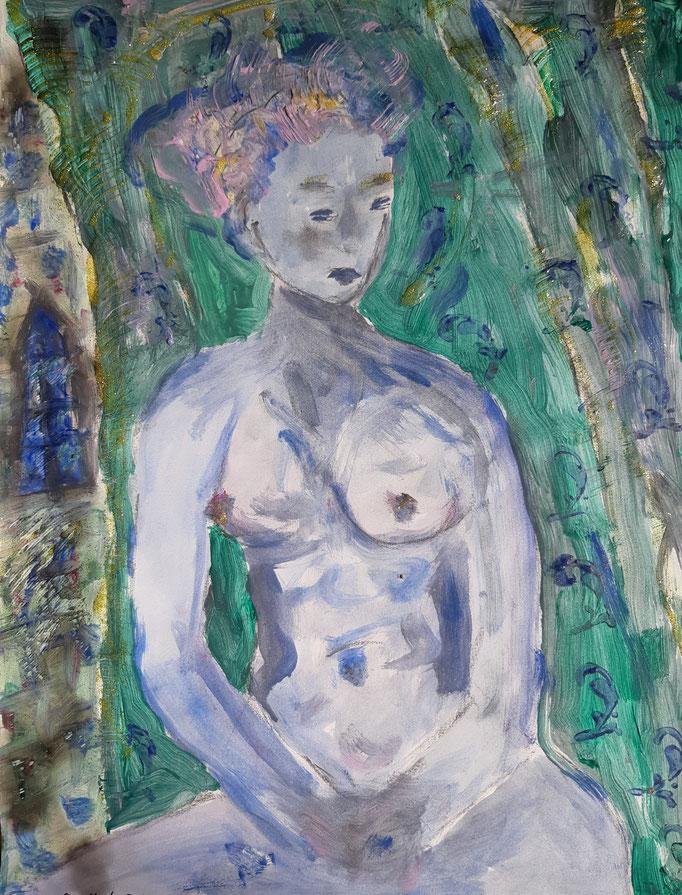 Blauer Akt - 47,5 x 36 cm - 2020 - Mischtechnik - Malerei auf Papier