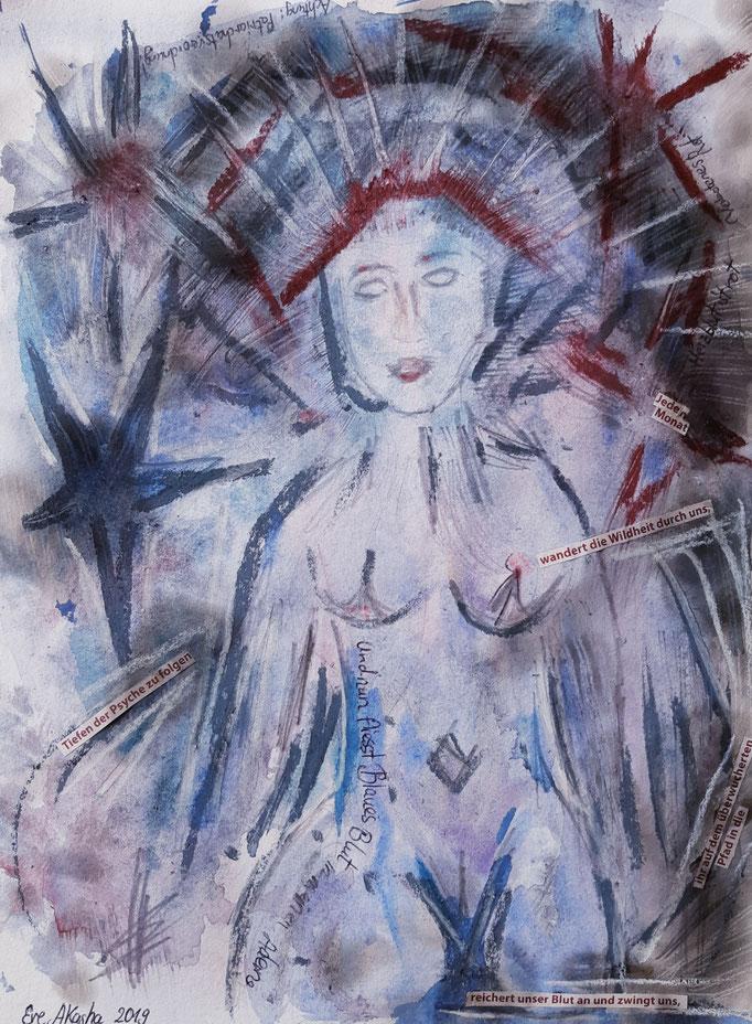 Und nun fließt Blaues Blut in meinen Adern - 32 x 24 cm  - 2019 - Aquarell/Mischtechnik