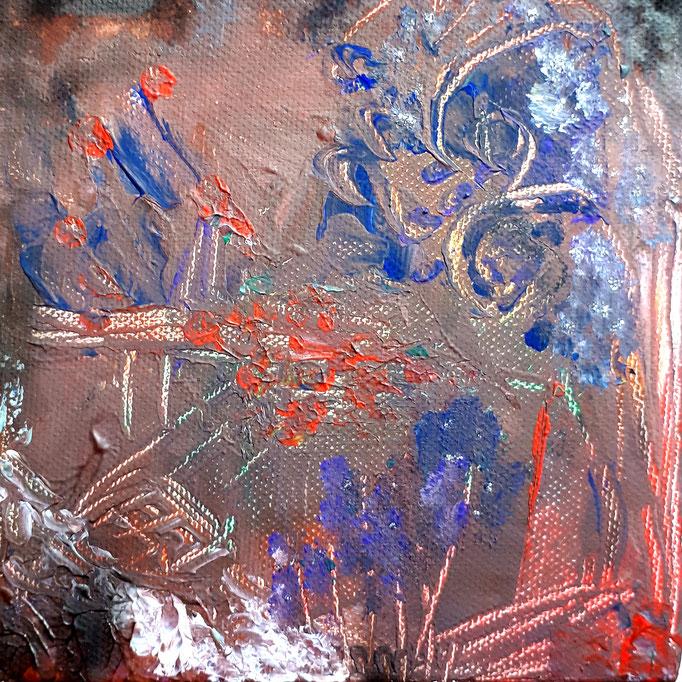 Dunkler Frühlingstraum - 15 x 15 cm - 2019 - Acryl - Malerei auf Leinwand