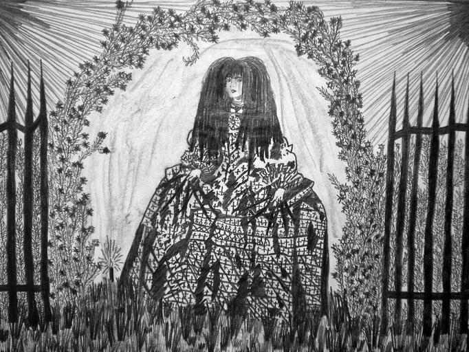 Die Rosenkönigin - 18 x 13 cm - 1990 - Bleistift auf Papier - digital bearbeitet