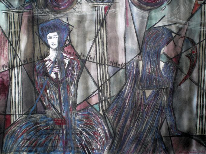 Gnade für Recht ergehen lassen - 56 x 42 cm - 1993 - Mischtechnik - Malerei auf Papier