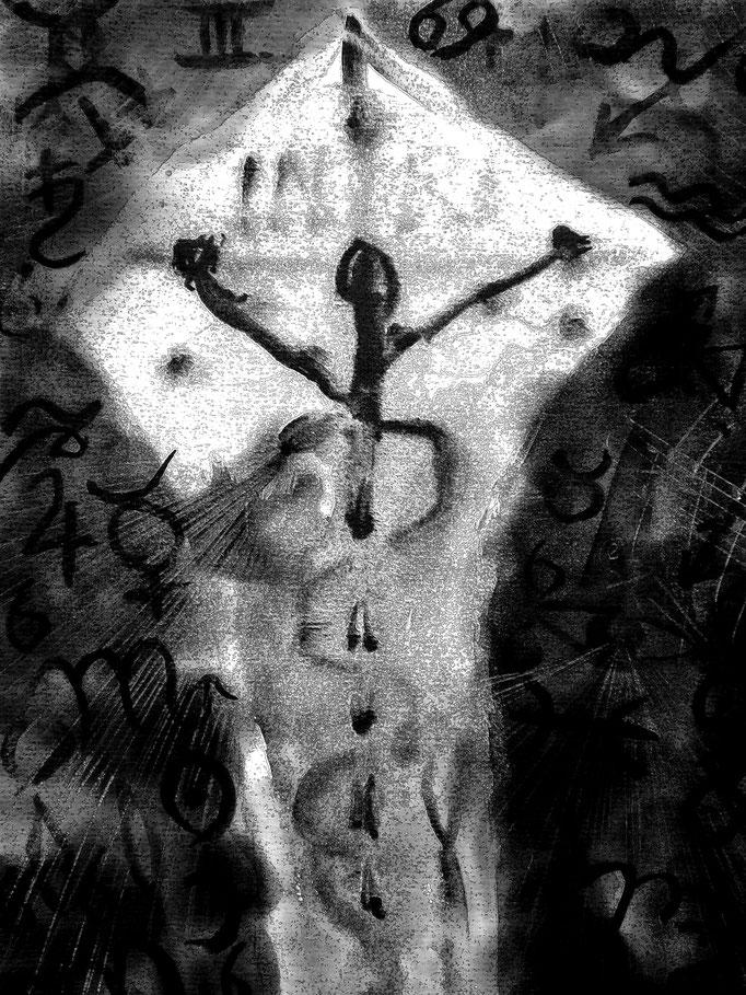 Kosmischer Kreuztod - 29,7 x 21 cm - 1990 -Mischtechnik - Malerei auf Papier - digital bearbeitet