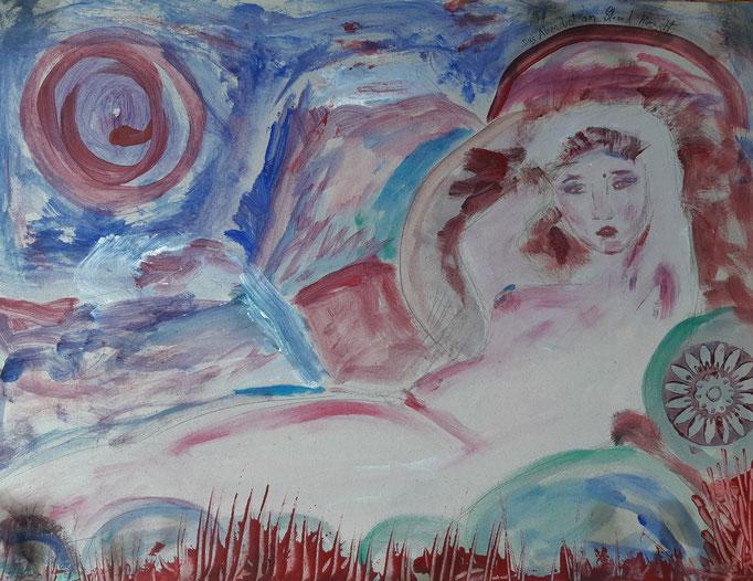 Das Abendrot am Strand hinzieht - 42 x 55,5 cm - 2020 - Mischtechnik - Malerei auf Karton