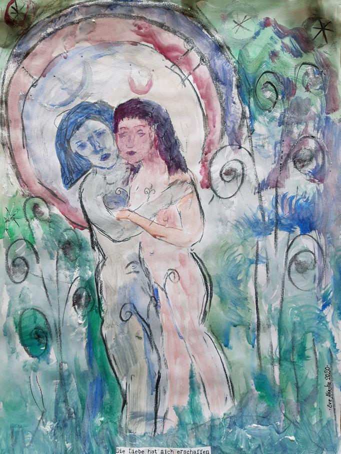 Die Liebe hat mich erschaffen - 48 x 36 cm - 2020 - Mischtechnik - Malerei auf Papier