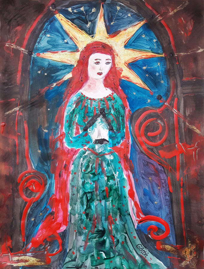 Göttin im Tempel - 47,5 x 36 cm - 2020 - Mischtechnik - Malerei auf Papier