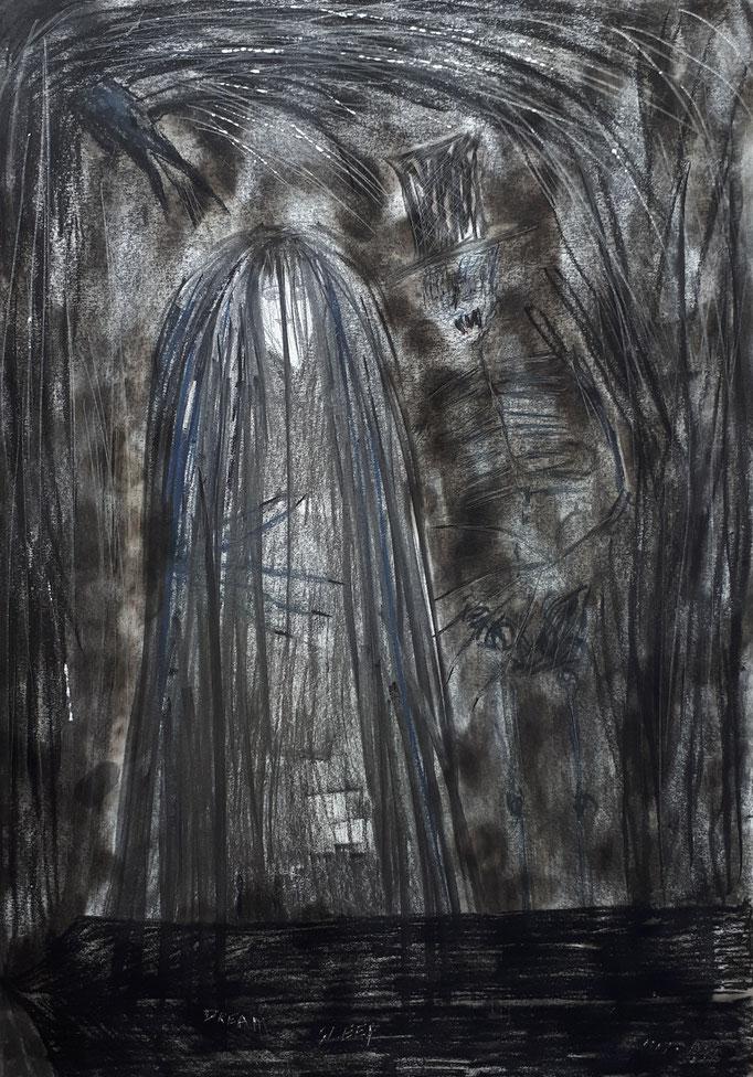 Der Tod und das Mädchen - 59,5 x 42 cm - 1991 - Mischtechnik - Malerei auf Papier