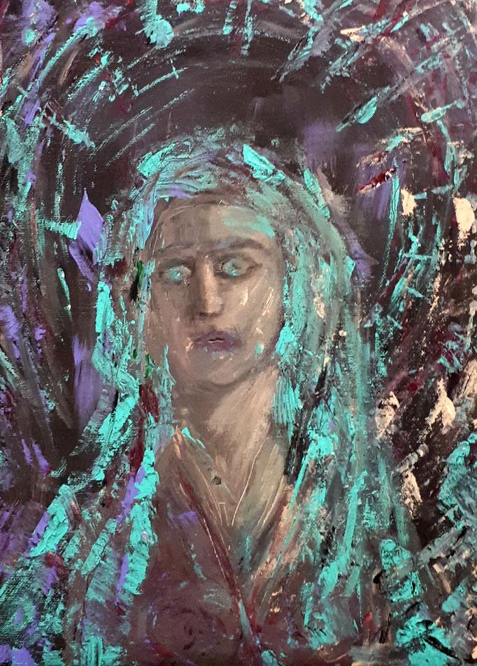 Cho Oyu - Göttin des Türkis - 30 x 40 cm - 2019 - Acryl - Malerei auf Leinwand
