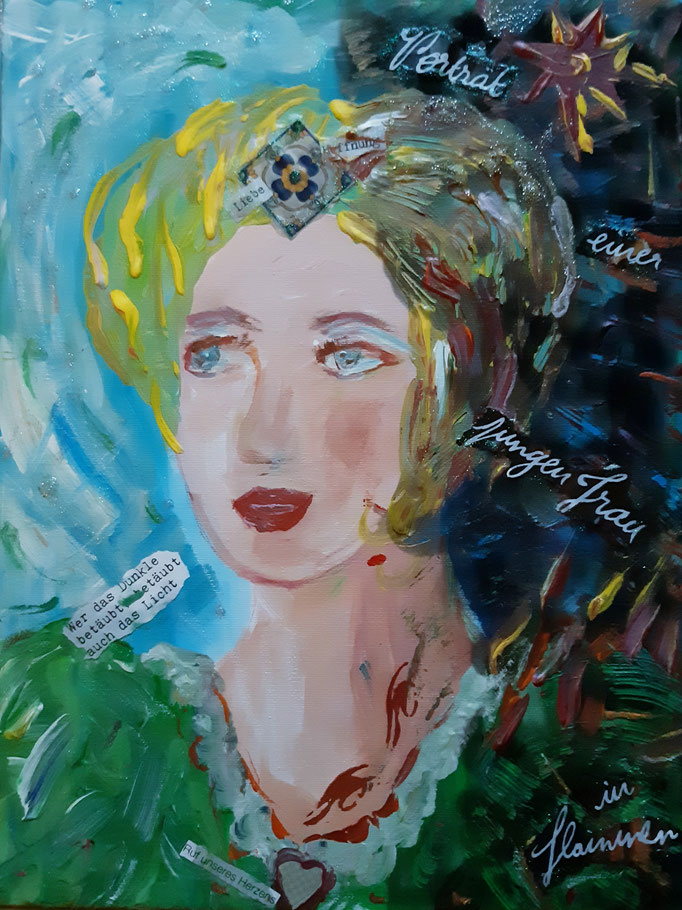 Portrait einer jungen Frau in Flammen - 40 x 30 cm - 2019 - Acryl - Malerei auf Leinwand