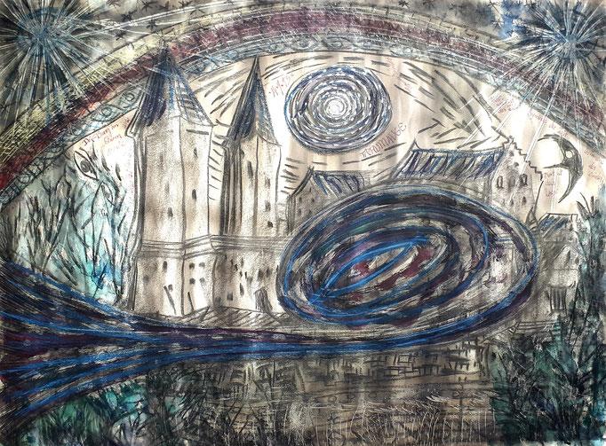 Traumauge - 56 x 42 cm - 1993 - Mischtechnik - Malerei auf Papier