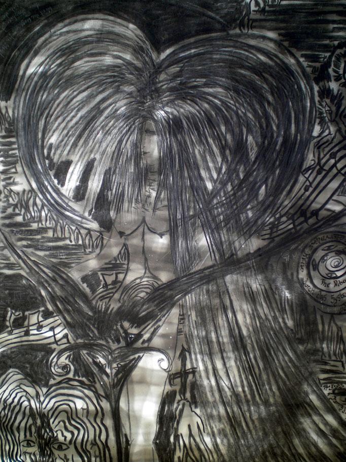 Phinellas Reise durch das System - 59,5 x 42 cm - 1992 - Mischtechnik - Malerei auf Papier