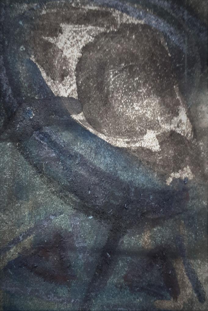Traumauge II - 14 x 9,5 cm - 1994 - Mischtechnik - Malerei auf Pappe