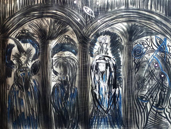 Nacht und Tag - 56 x 42 cm - 1992 - Mischtechnik - Malerei auf Papier