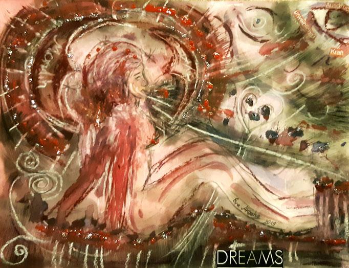 Dreams - Ausdruck urweiblicher Kraft - 24 x 32 cm  - 2019 - Aquarell/Mischtechnik
