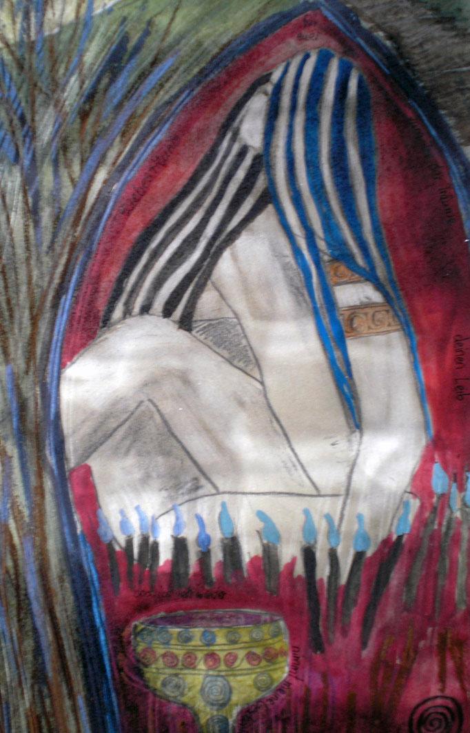 Liebesritual I - 56 x42 cm - 1996 - Mischtechnik - Malerei auf Papier - Ausschnitt