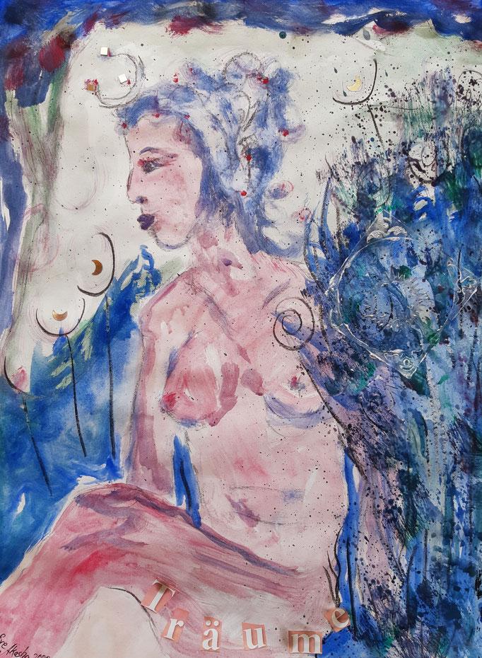 Träume - Detail - 48 x 36 cm - 2020 - Mischtechnik - Malerei auf Papier