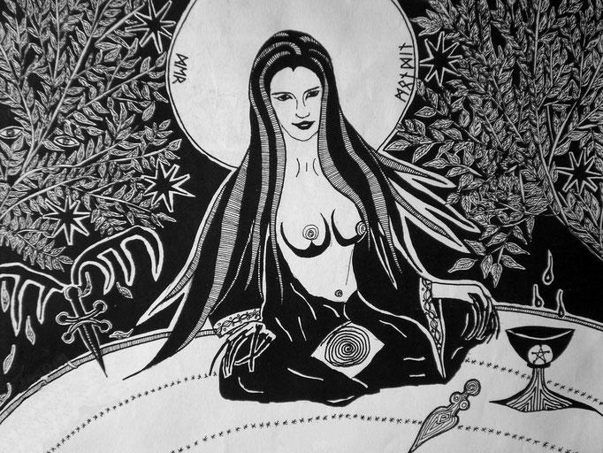 Der Mondin Priesterin - 19 x 15 cm - 1996 - Tusche auf Papier - digital bearbeitet