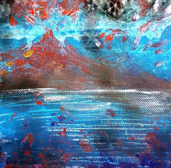 Meerestoben - 15 x 15 cm - 2019 - Acryl - Malerei auf Leinwand