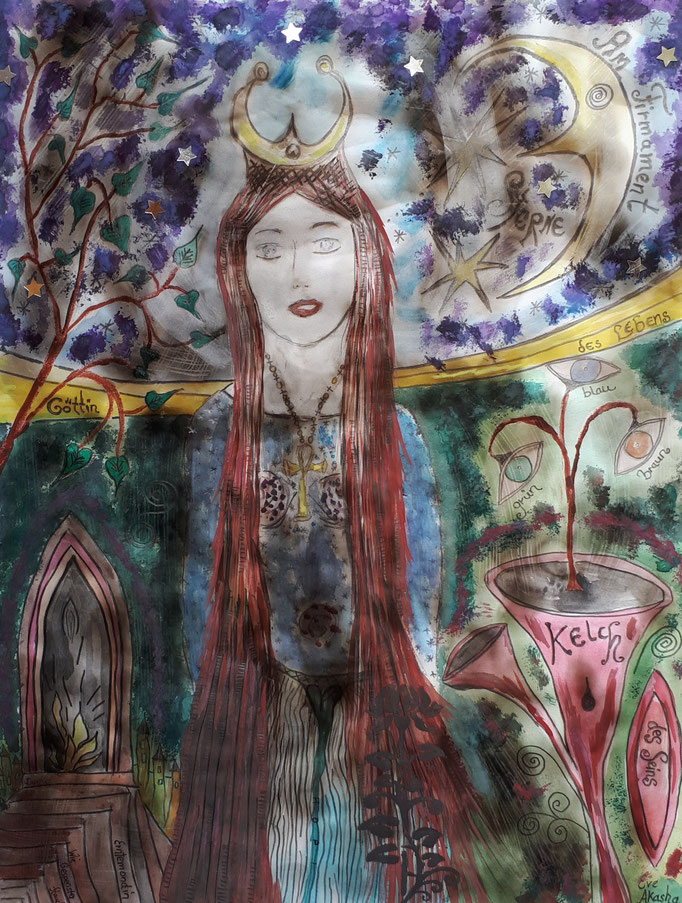 Göttin des Lebens - 47,5 x 36 cm - 2013 - Mischtechnik - Malerei auf Papier