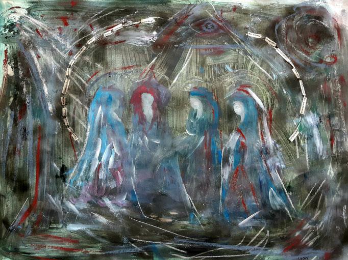 Gedankenspirale - 36 x 47,5 cm - 2020 - Mischtechnik - Malerei auf Papier