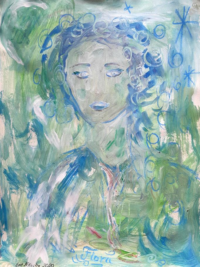 Flora - 47,5 x 36 cm - 2020 - Mischtechnik - Malerei auf Papier