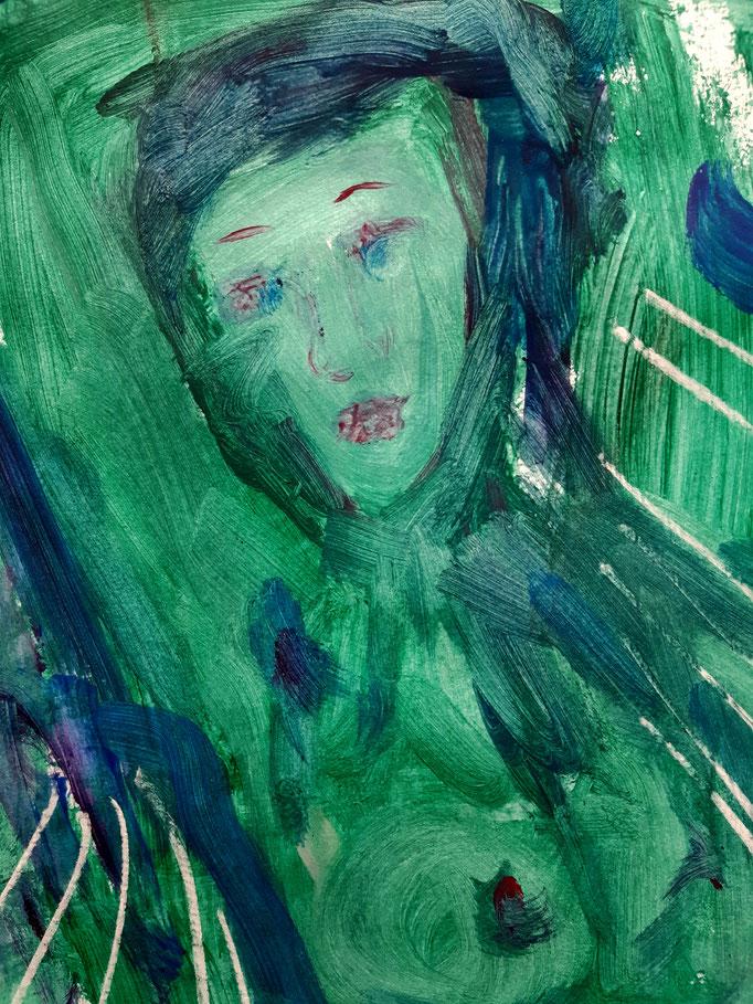 In den Fluten - Detail - 47,5 x 36 cm - 2020 - Mischtechnik - Malerei auf Papier