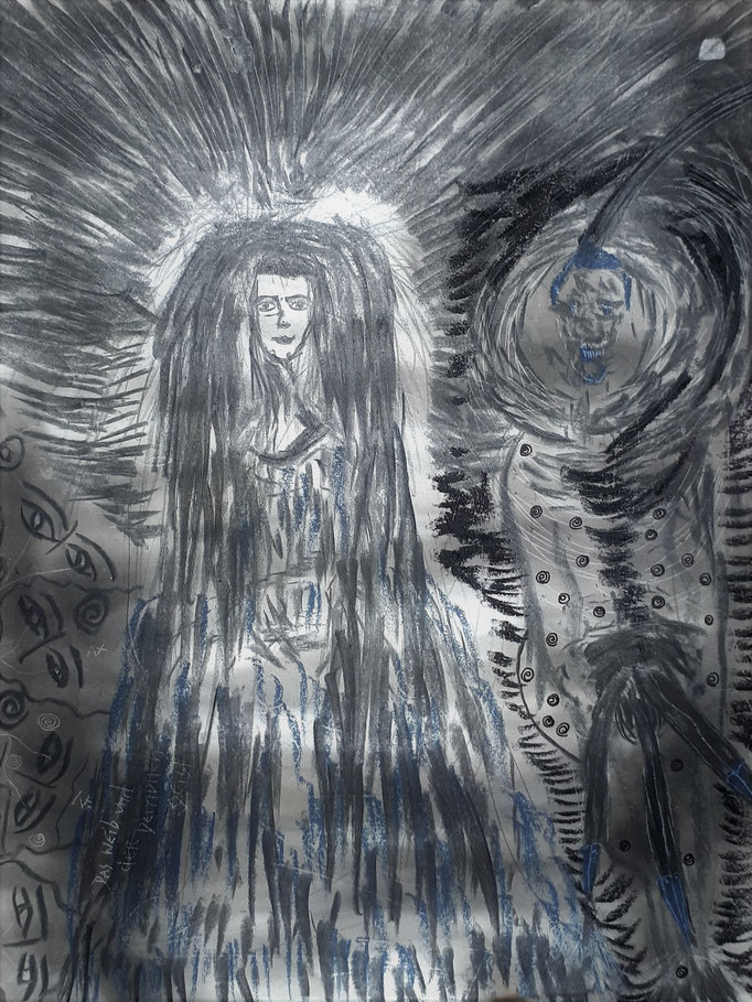 Das Weib und der Dämonengeist -27,5 x 21 cm - 1992 - Mischtechnik - Malerei auf Papier
