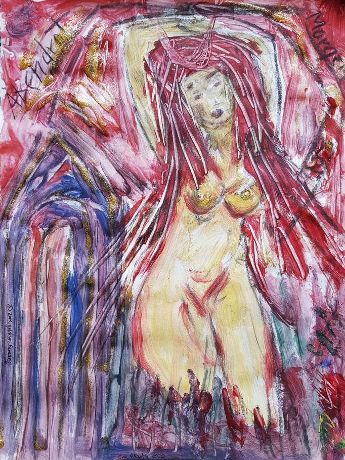 Abendrot - Morgen Rot - 47,5 x 36 cm - 2020 - Mischtechnik - Malerei auf Papier