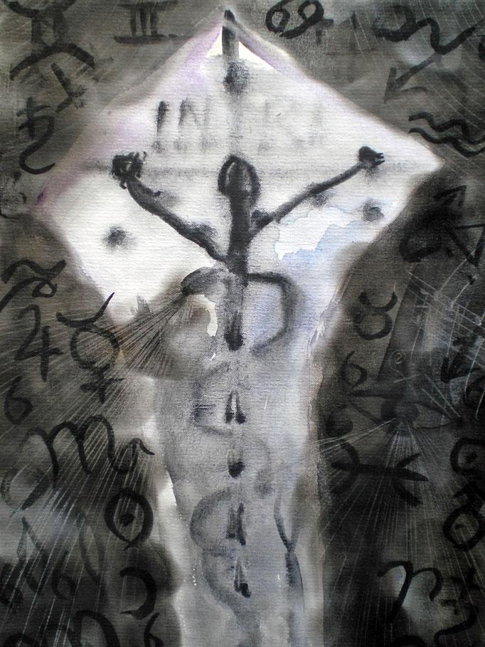 Kosmischer Kreuztod - 29,7 x 21 cm - 1990 -Mischtechnik - Malerei auf Papier