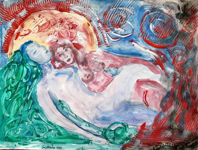 Ich werde nie gehen - 47,5 x 36 cm - 2020 - Mischtechnik - Malerei auf Papier