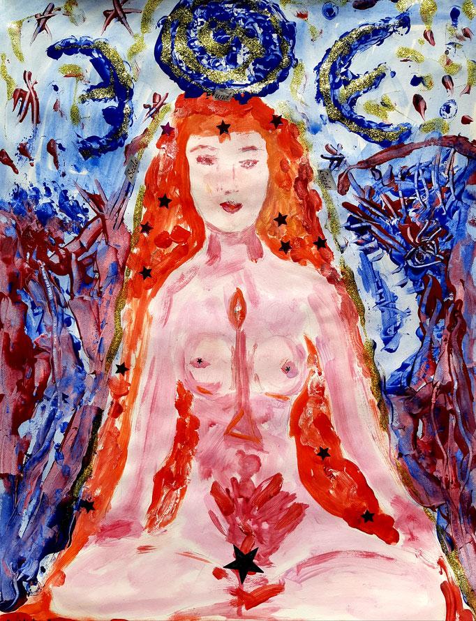 Seele und Geist - Detail - 47,5 x 36 cm - 2020 - Mischtechnik - Malerei auf Papier