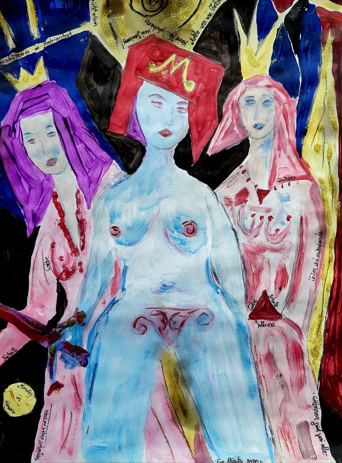Marielle, Beschützerin im Matriarchat - 47,5 x 36 cm - 2020 - Mischtechnik - Malerei auf Papier