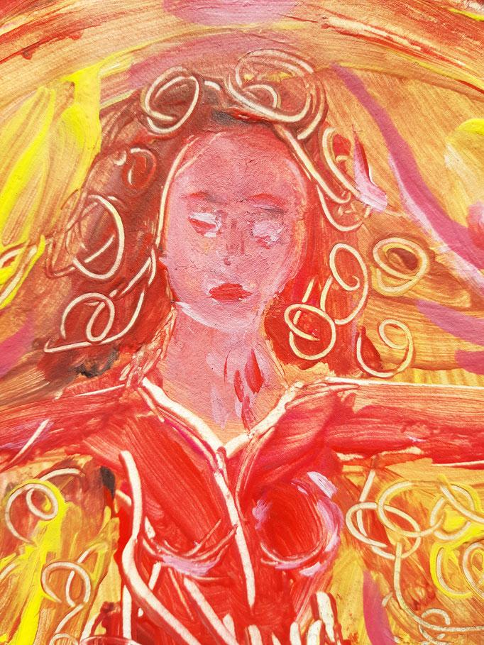 Seelentanz durch Liebesglut - Detail - 47,5 x 36 cm - 2020 - Mischtechnik - Malerei auf Papier