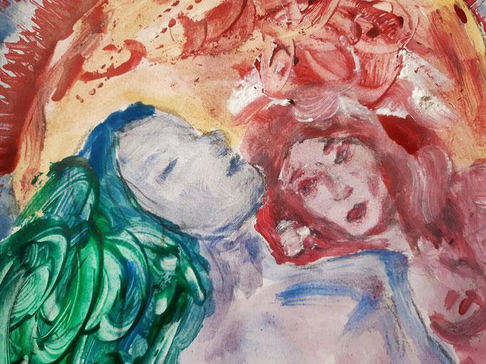 Ich werde nie gehen - Detail - 47,5 x 36 cm - 2020 - Mischtechnik - Malerei auf Papier