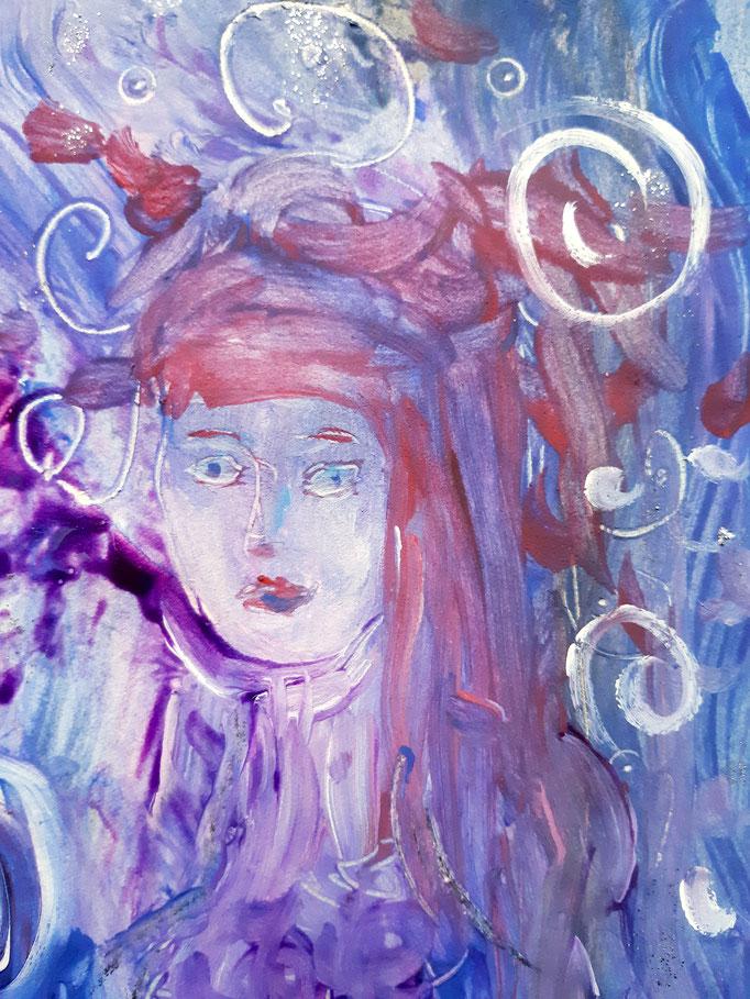 Mit dem blauen Wind -Detail - 47,5 x 36 cm - 2020 - Mischtechnik - Malerei auf Papier