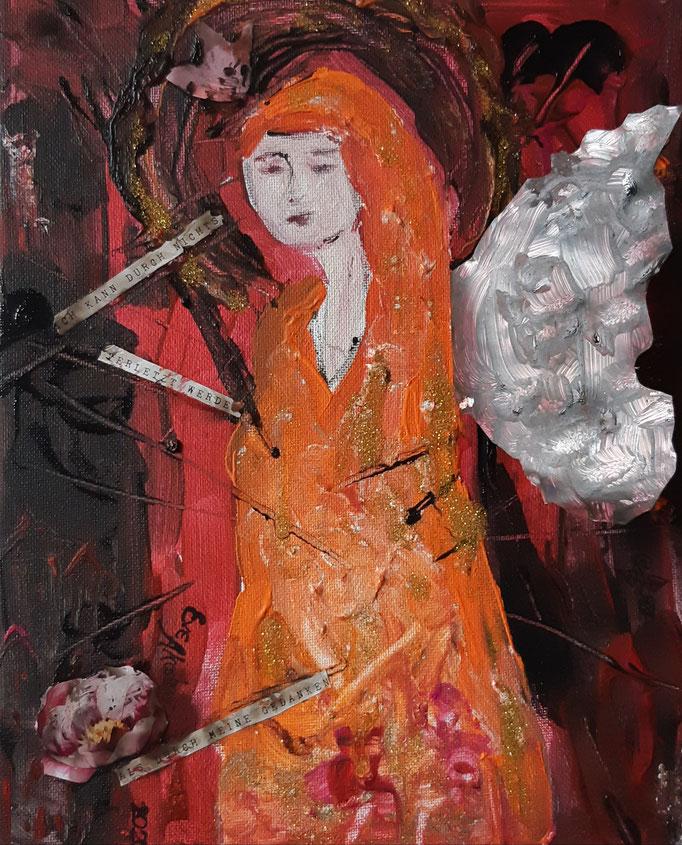 Ich kann durch nichts verletzt werden als durch meine Gedanken - 30 x 24 cm - 2020 - Acryl - Malerei auf Leinwand