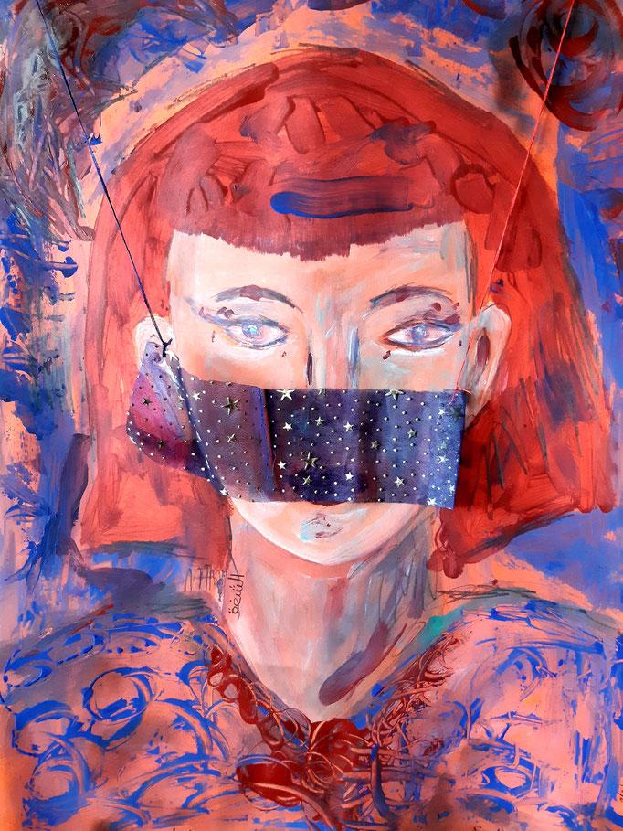 Abendrot - Schleierbeschützt - 56 x 42 cm - 2020 - Mischtechnik - Malerei auf Karton