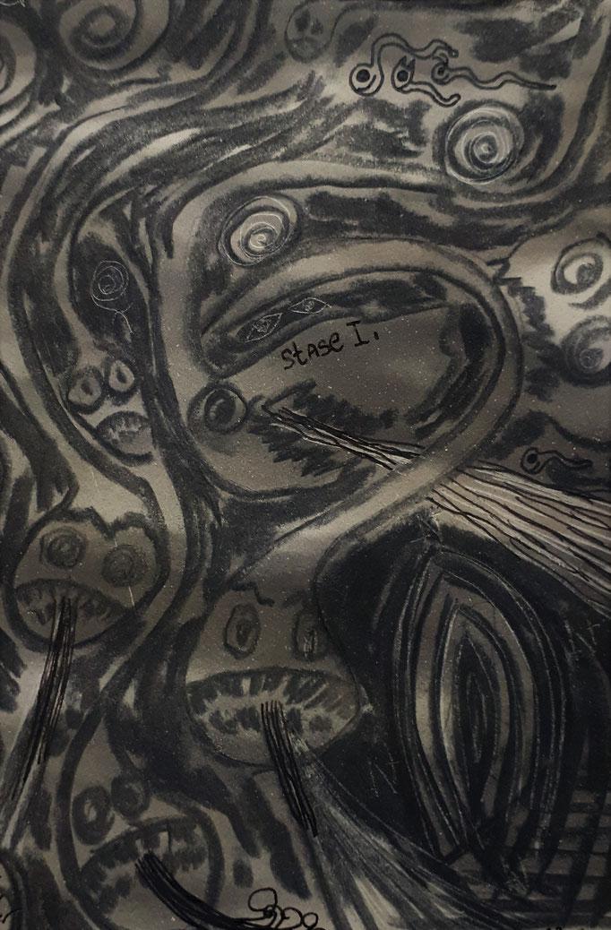 Stase I - 14,7 x 10,5 cm - 1992 - Mischtechnik auf Papier