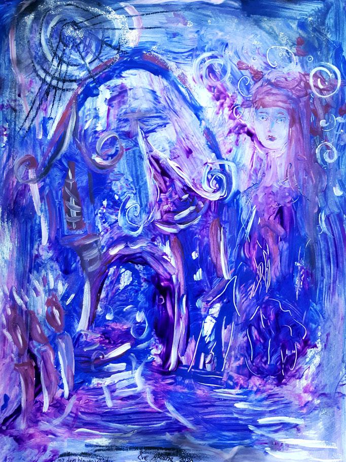 Mit dem blauen Wind - 47,5 x 36 cm - 2020 - Mischtechnik - Malerei auf Papier