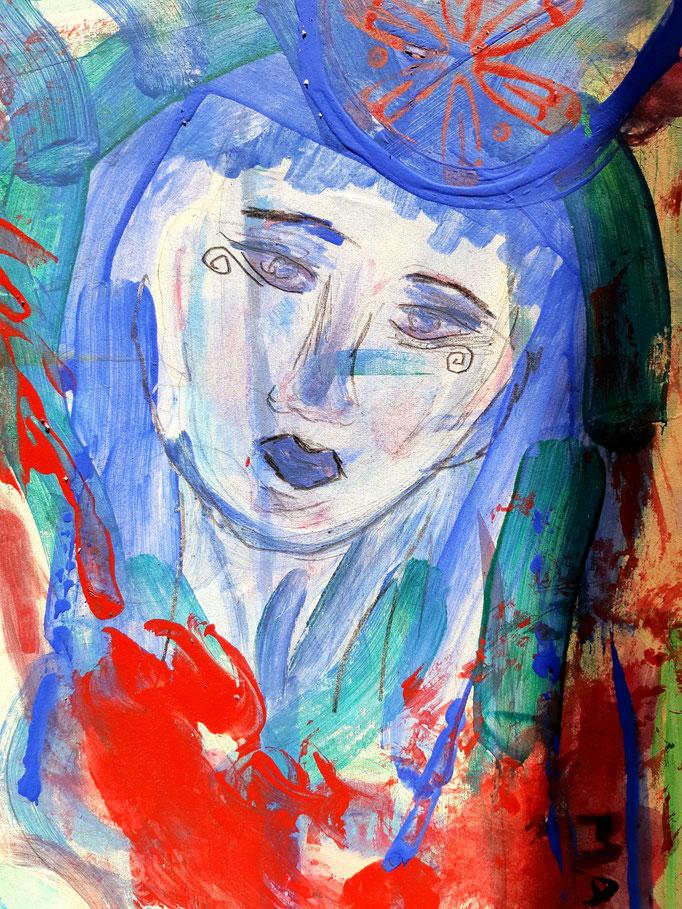 Manat - Detail 2 - 48 x 36 cm - 2020 - Mischtechnik - Malerei auf Karton