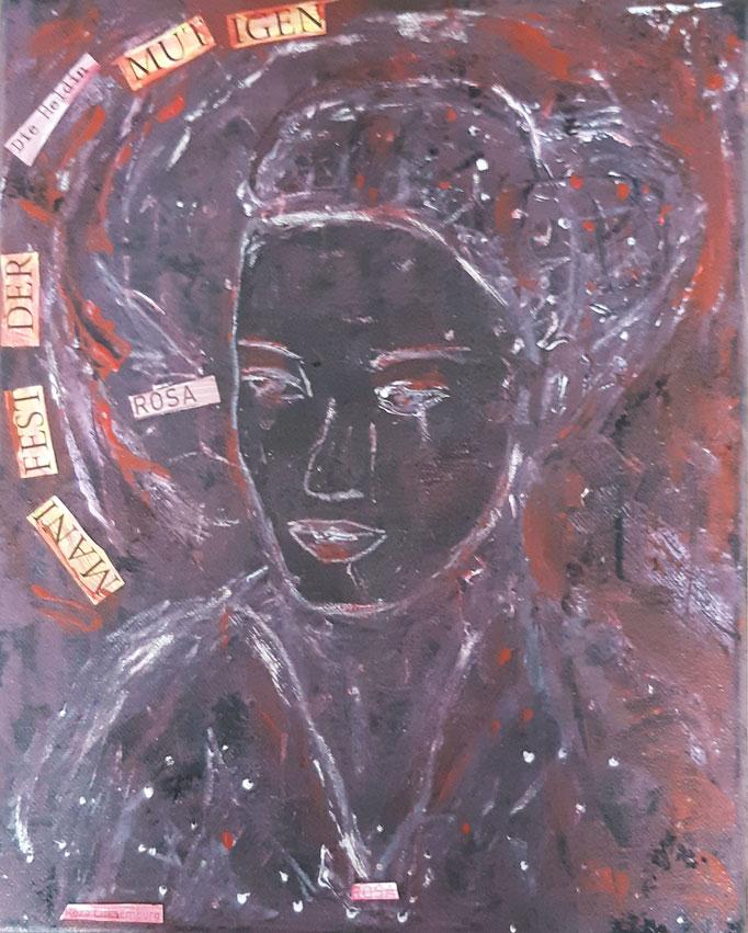 Rosa oder Manifest der Mutigen - 30 x 24 cm - 2019 - Acryl - Malerei auf Leinwand