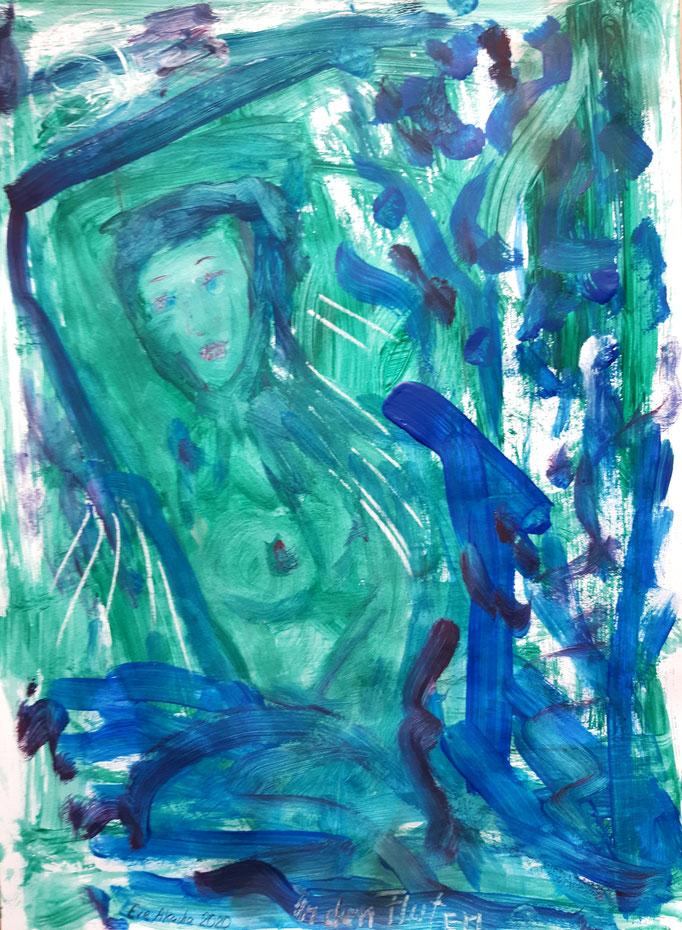 In den Fluten - 47,5 x 36 cm - 2020 - Mischtechnik - Malerei auf Papier