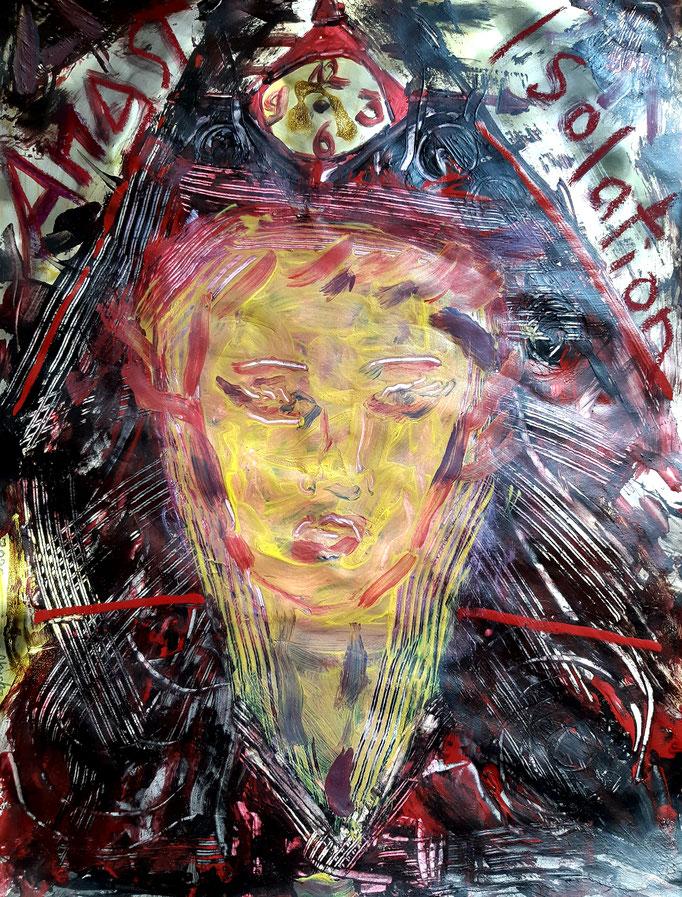 IsolationsAngst  - Detail - 47 x 36 cm - 2020 - Mischtechnik - Malerei auf Papier
