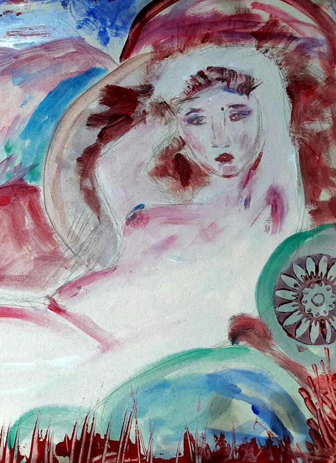 Das Abendrot am Strand hinzieht - Detail - 42 x 55,5 cm - 2020 - Mischtechnik - Malerei auf Karton